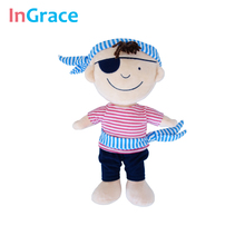 new arrived cute plush pirate dolls for boy with headband and sash soft material pirate toys cosplay game doll unique  gifts