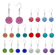 hotsale 10mm Clay Mixed 15 Random Color WON Crystal Micro Pave Disco Ball Silver Plated Crystal Shamballa Earrings Dorp Stud