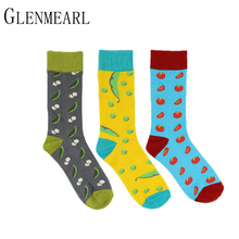 5 Pair/Lot Cotton Men Socks Spring Fall Plus Size Brand Quality Business Compression Coolmax Pattern Dress Happy Male Crew Socks(China)