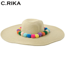 2017 South Korea new Multicolor lady fur ball straw hat big beach summer hat for women seaside  sunscreen girls sun hat