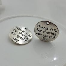 20pcs/lot 25mm Antique Silver Color  Metal Massage Charms Round  Word THANK YOU for sharing our special day