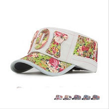 New Spring Summer Flower Cowboy Flat Hat Women Denim Letters Parasol Outer Sleeve Snapback Baseball Caps Womens Army Casquette