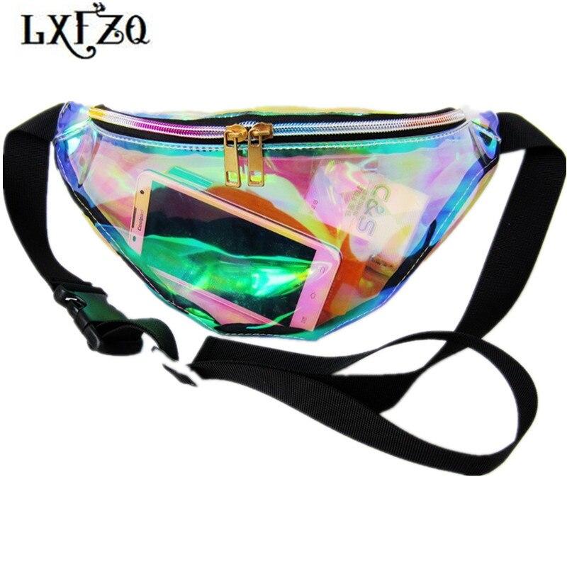 1x Holographic Transparent Fanny Pack Laser Waist Bag Women Purse Waistband Bags