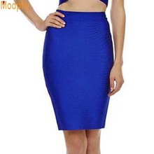 2017 Stretchy Elastic Women Knee Length Celebrity Bandage Skirts Sexy Slim Solid Color Pencil Skirt Drop Shipping HLS113(China)