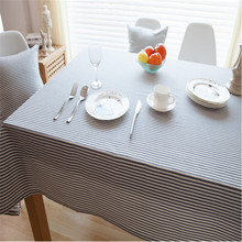 Korean Style Cotton & Linen Table Cloth Gray Stripe Table Cover Pastoral Tablecloth Table Cover Home Party Decor