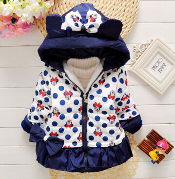 girls winter minnie mouse coat children cute polka dot hooded down jacket outerwear kids girl warm clothing baby cartoon clothesОдежда и ак�е��уары<br><br><br>Aliexpress