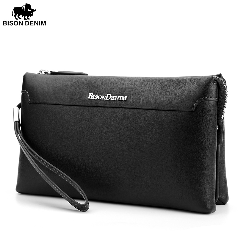 BISON DENIM Genuine Leather Male Clutch Wallet Ipad Mini Cowhide Handbag Mens Clutch bag Zipper Wallet for Coins Passport N8014<br>