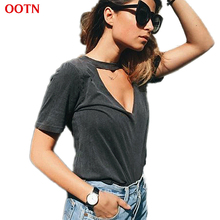 OOTN Cotton Knitted Women T Shirts Grey Solid V Neck Short Sleeve Tees 2017 Summer Tops Shirts High Quality Choker Top Work