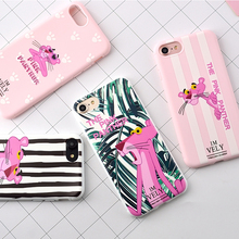 For iPhone 7 Cases Candy Color Zebra Pink Panther Soft TPU Rubber Silicon Case Cover for 7 Plus Back Cover Lovely(China)