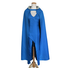 New Game of Thrones Daenerys Targaryen Cosplay Costumes Women Blue Long Dress and Hooded Cloak sets Halloween, Stage Clothings