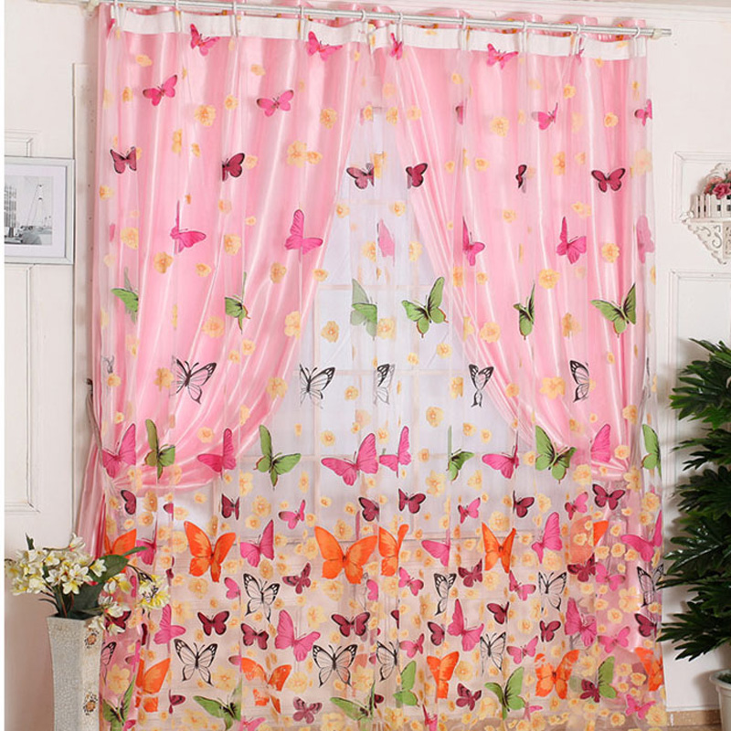 Curtains Window-Panel Bedroom Sheer Living-Room Butterfly Print New for LW504 200cm-X-100cm title=
