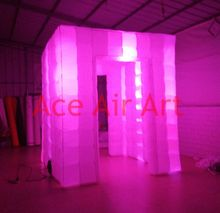 hot selling colorful changing led Inflatable photo booth for Party with good lights system(China)