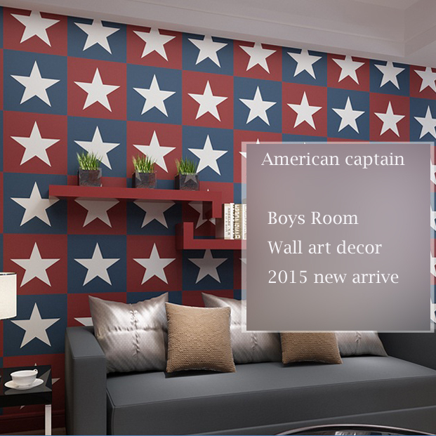 american captain logo designs boys room wallpaper 10m per roll papel de parede infantil<br>