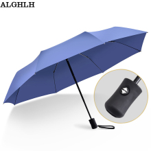 ALGHLH Automatic Umbrella Bone ReinforceWindproof Three Fold Umbrella Rain and Rain Dual Purpose Men Women Folding Umbrella(China)
