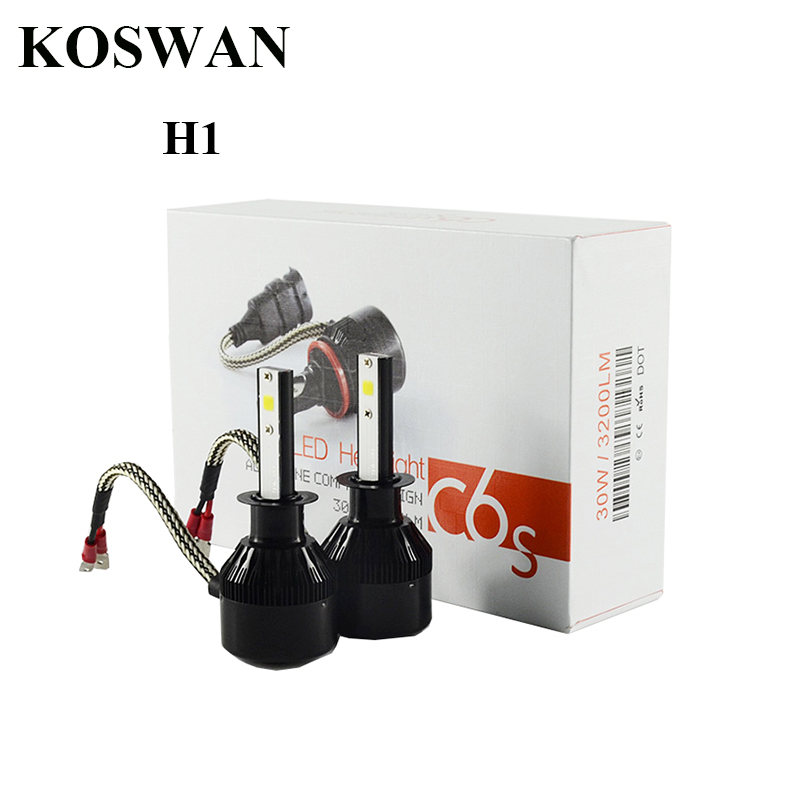 C6S H1 LED Headlight Bulb 30W 3200LM 2-Sided COB Led Single Beam 6500K White Led Head Light Bulb H1 Low Beam Headlamp Bulb <br><br>Aliexpress