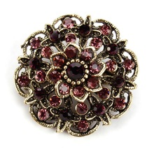 WEIMANJINGDIAN Assorted Colors Designs Crystal Rhinestones Flower Vintage Brooch Pins for Women in Antique Gold Color Plated