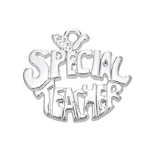 my shape Silver Plated Fashion Word Metal Special Teacher Charms Apple DIY Pendant Teacher's Day Jewelry Wholesale 5pcs(China)