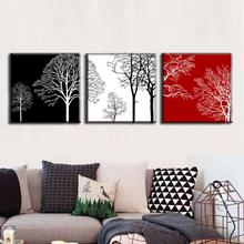 Discount Framed Painting 3 Pcs/set Modern Tress Wall Art Canvas Painting Abstract Black White Red Trees Painting Free Shipping(China)