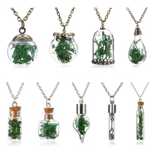 Vintage Wishing Bottle Necklace Shellhard Fashion Mini Glass Seaweed Sea Grasses Long Pendant Necklace For Unisex Jewelry