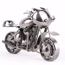 Vintage Motorcycle Model Retro Motor Figurine Iron Motorbike Prop Handmade Boy Gift Kids Toy Home Office Antique Decor