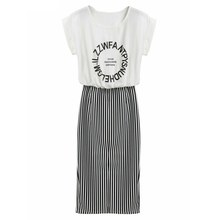 Women 2 in 1 One-piece Letter Print Striped Blouse Dress Midi Short Sleeve Bodycon Long Dress(China)