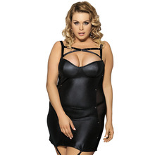 Lady Deep V Dance Club wear plus size 3XL Women Spaghetti Strap Backless Sleeveless Black Leather Sexy Women's Clothing Dresses(China)