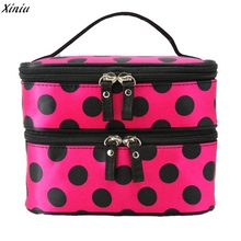 Luxury Amazing Women Ladiy Double Layer Cosmetic Bag Travel Toiletry Female Makeup Case Cosmetic Storage Beauty Pouch travel bag(China)