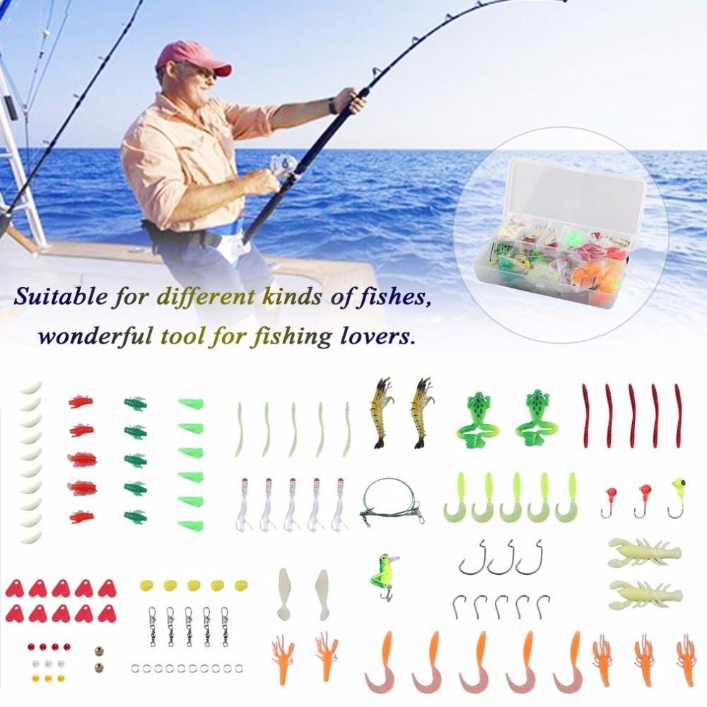 Fishing Lure Kits Hard Artificial Metal Baits High Carbon Steel &amp; Plastic Fish Hook Soft Fishing Baits Set Fish Accessories<br>