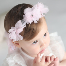 2017 New Fashion Princess Hairbands Exquisite Rhinestone Flower Wreath Long Lace Ribbon Hairbands Kids Headwear Hair Accessories(China)