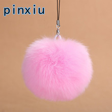 8 Fur Pom Keychain Faux Rabbit Fur Ball Key Chains Fur Keyring Porte Clef llaveros Key Chain For Bag Phone Charm Navidad Regalos