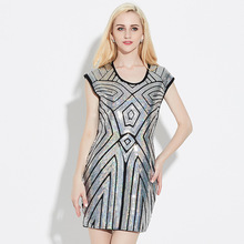 Art Deco Sliver Sequin Great Gatsby Dress Women Retro Sleeveless DS Dress Sexy Ladies 1920s Vintage Party Night Club Dress(China)