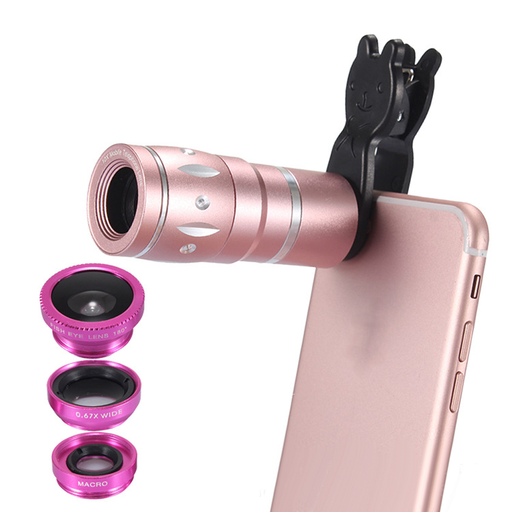 JRGK Universal 10X Camera Telephoto Lens mobile Phone Telescope with Rabbit Clip 4 in 1 Wide Angle Macro Mobile Phone Len 3