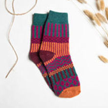 Raylans Women Colorful Strip Thicken Woollen Anklet Ankle Socks Winter Wool Hosiery(China)