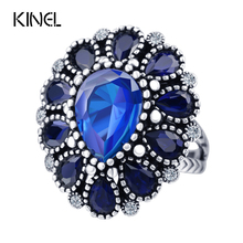 Fashion Blue Crystal Flower Rings For Women Color Silver Vintage Big Wedding Ring Bohemia Jewelry(China)