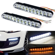 2016 New Hot 12V 12W 2x 30 LED Car Daytime Running Light DRL Daylight Lamp with Turn Lights &Wholesale(China)