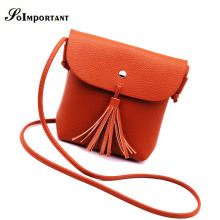 New Women Messenger Bag Camel Color Tassel Women Bag PU Leather Small Bag Women Cute Shoulder Crossbody Bags For Women Clutch