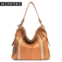 Buy MONFERE Women Hobo Bags Female Large Pu Leather Shoulder Bags Rivet Handbag Top-Handle Boho Patchwork Crossbody Messenger bags for $48.00 in AliExpress store