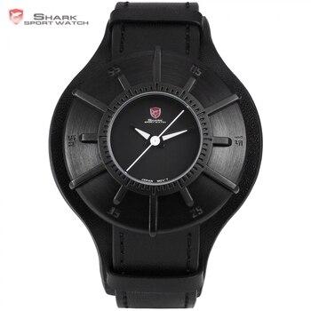 Sedoso shark reloj del deporte 2017 de los hombres relojes de marca de lujo completo negro 3D Dial Militar Reloj de Cuarzo Correa de Cuero Genuina Masculina/SH482