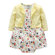 2pcs Set Toddler Infant Baby Girl Clothing Sets Outfits Long Sleeves Shirt Tops Short Sleeve Flower Dresses Baby Girls Clothes(China)