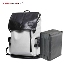 DSLR Camera Backpacks Photo Video Case PU Leather 15.6-17inch Laptop Backpack with Camera liner Package Man Fashion Computer Bag(China)