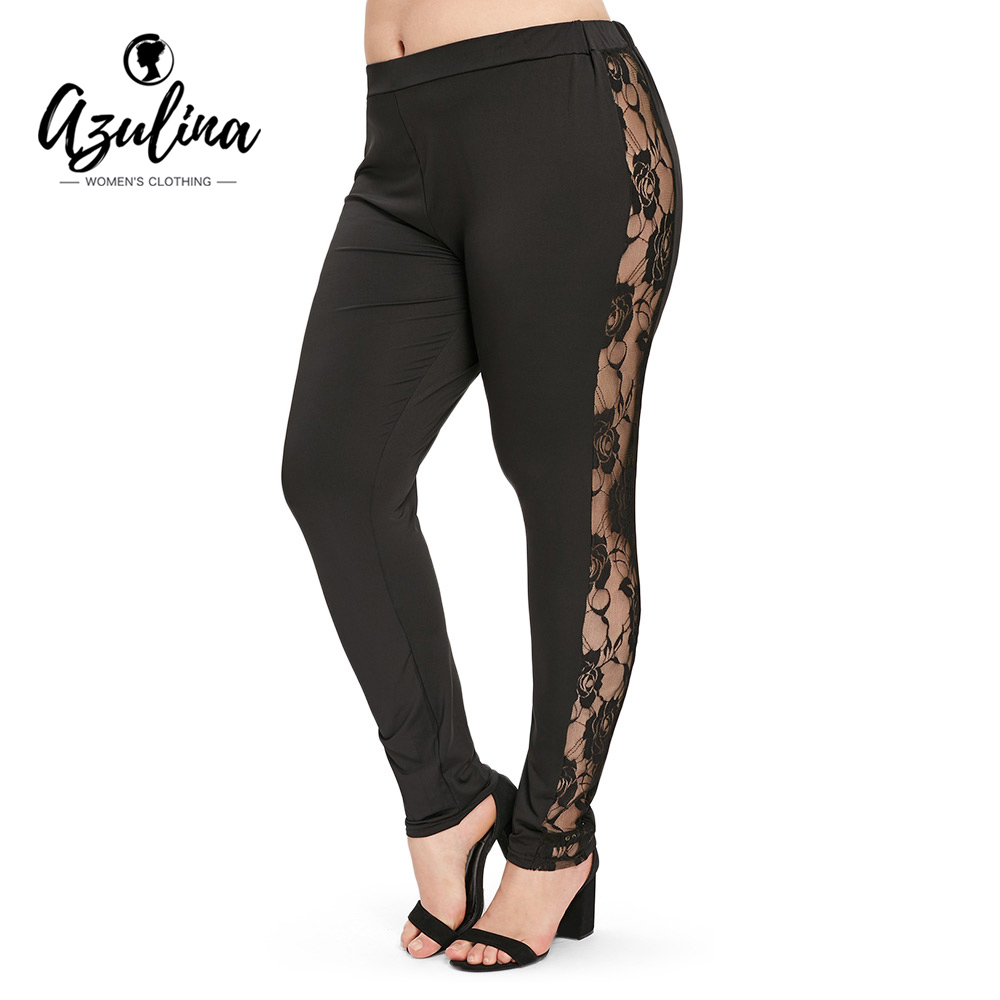 Size 2019 AZULINA Plus Leggings Women Leggings High Side Panel Lace WED9YH2I