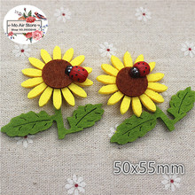 5CM 10pcs Non-woven patches sunflower ladybird two-double Felt Appliques for clothes Sewing Supplies diy craft ornament(China)