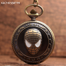 New Design Retro Cool Spiderman White Eyes Quartz Pocket Watch Pendant Classic Pocket Watch Men Women Chain Necklace Pendant
