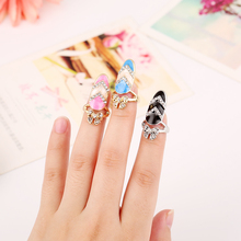 2016 Newest Design Fashion Bowknot  Pattern Art Finger Nail Rings High Quality Personality Rhinestone  Punk Nail Ring for Women