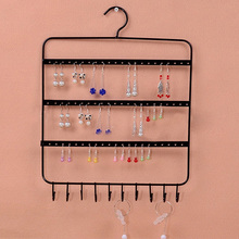 66 Holes and 10 Hooks Wall Earring Organizer Jewelry Hanging Holder Necklace Display Stand Rack Holder