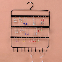 66 Holes and 10 Hooks Wall Earring Organizer Jewelry Hanging Holder Necklace Display Stand Rack Holder(China)