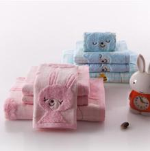 Baby Cotton Cartoon Towel Set 3Pcs Bath Hand Face Beach bear towels embroidery promotion family adult child gift wholesale FG280(China)