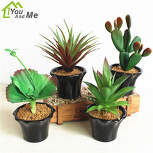 Flower Set Artificial Succulents Plants Bonsai Fake Green Cactus Plant Black Ceramics Pot Home Garden Office Decoration(China)