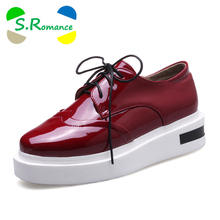 S.Romance Plus Sizes 34-43 New Hot Sale Fashion Lace-Up Oxfords Round Toe Lace-Up Women Flats Woman Shoes Black Wine White SF105