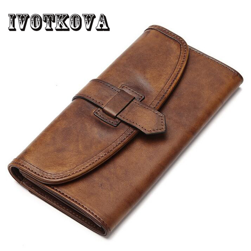 IVOTKOVA New Arrival Men And Women Wallets Long Genuine Leather Brand Big Capacity Purse First Layer Cowhide women Day<br>